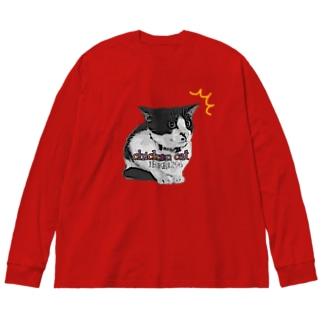 チキンキャット〜ビビり猫〜 Big silhouette long sleeve T-shirts
