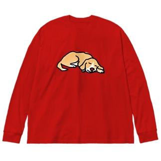 ぐっすりわんこ Big silhouette long sleeve T-shirts