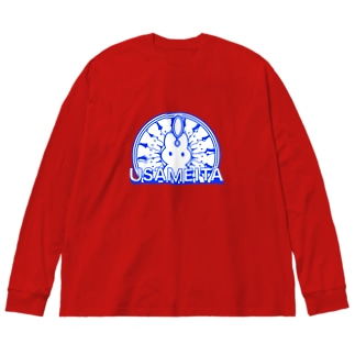 USAMEITA! BLUE! Big silhouette long sleeve T-shirts