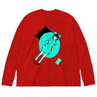 蛸突破飛行少女(ブルー) Big silhouette long sleeve T-shirts
