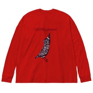 ユーモアメッセージデザイン「元気プリーズ」 Big silhouette long sleeve T-shirts