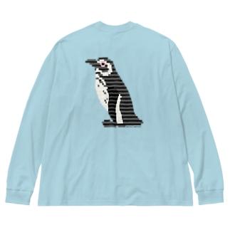 ペンギン:イレギュラーボーダー Big silhouette long sleeve T-shirts