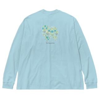 森 ポメラニアン Big silhouette long sleeve T-shirts
