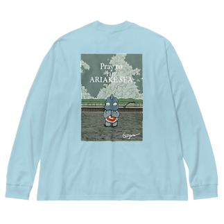 有明海の祈り Big silhouette long sleeve T-shirts