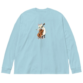 チェロを弾く猫 Big silhouette long sleeve T-shirts