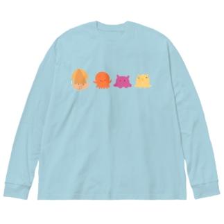 うみのいきもの Big silhouette long sleeve T-shirts