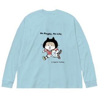 ラグビーねこ Big silhouette long sleeve T-shirts