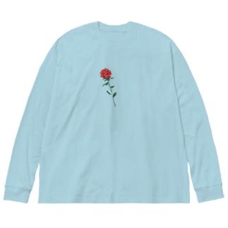 バラ Big silhouette long sleeve T-shirts