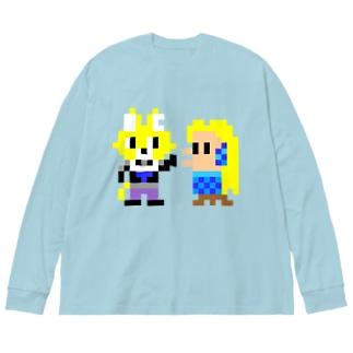 キャットC×アマビエ ドット Big silhouette long sleeve T-shirts