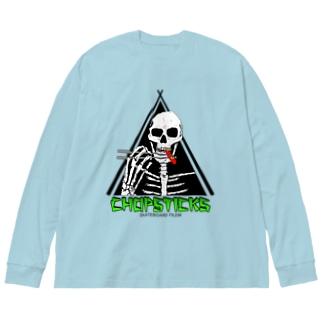 ドクロとスケートボード Big silhouette long sleeve T-shirts