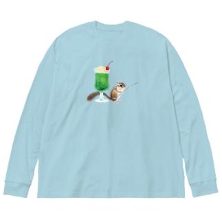 「クリームソーダはいかが?」-シマリスより- Big silhouette long sleeve T-shirts