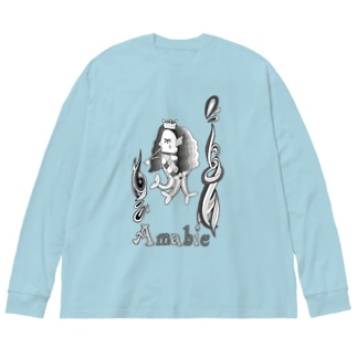 アマビエ/モノクロ Big silhouette long sleeve T-shirts