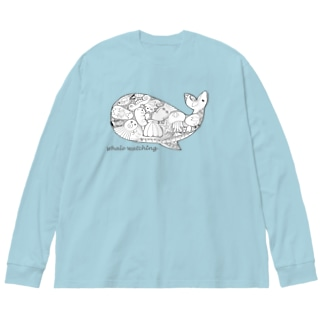くじら/モノクロ Big silhouette long sleeve T-shirts