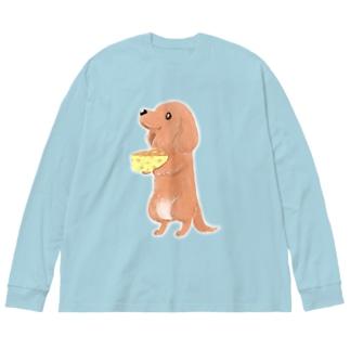チーズとダックス Big silhouette long sleeve T-shirts