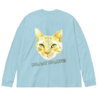 NO,CAT NO,LIFE! Big silhouette long sleeve T-shirts
