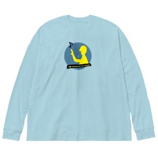 78 revolutions per minute Big silhouette long sleeve T-shirts