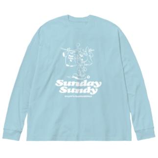 SUNDAY SUNDY No.2 (白ロゴ) Big silhouette long sleeve T-shirts
