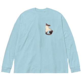 ひょっこりモモンガ Big silhouette long sleeve T-shirts