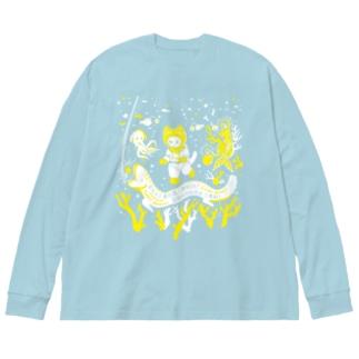 なんと三角 銀河潜水 Big silhouette long sleeve T-shirts