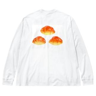 イラストによる食卓。3つのロールパン Big silhouette long sleeve T-shirts