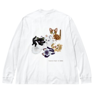 たわむれニャンズ Big silhouette long sleeve T-shirts