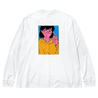 めがねの女の子 Big silhouette long sleeve T-shirts