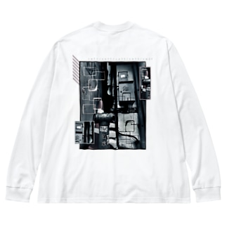 cell (両面) Big silhouette long sleeve T-shirts