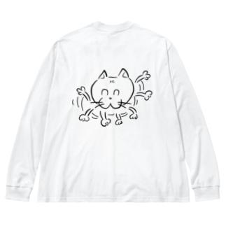 忙しいたまにゃんw2 Big silhouette long sleeve T-shirts