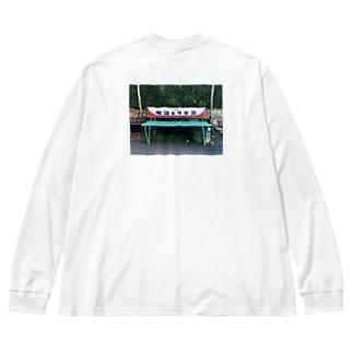 明治ビタ牛乳 バックプリント Big silhouette long sleeve T-shirts