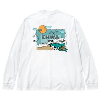 波打ち際(両面 Big silhouette long sleeve T-shirts