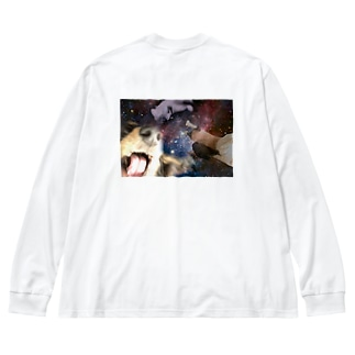 They are so crazy!!!!ーイカれた犬と猫ー Big silhouette long sleeve T-shirts