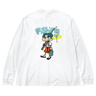 Fishing boy Big silhouette long sleeve T-shirts