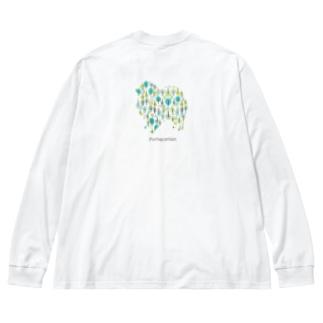 AtelierBoopの森 ポメラニアン Big silhouette long sleeve T-shirts