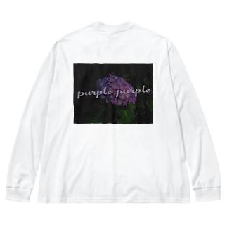 purple カットソー Big silhouette long sleeve T-shirts