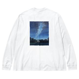 天の川銀河 Big silhouette long sleeve T-shirts