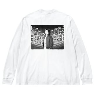 night view (背面プリント) Big silhouette long sleeve T-shirts