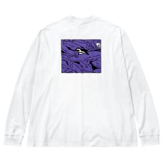 ぎゅうぎゅうオオサンショウウオ ヴァイオレット Big silhouette long sleeve T-shirts