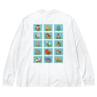 色々きのこ(背面プリント) Big silhouette long sleeve T-shirts