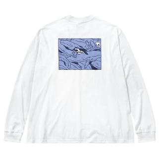 ぎゅうぎゅうオオサンショウウオ くすみブルー Big silhouette long sleeve T-shirts