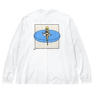 ソーシャルうきわガール Big silhouette long sleeve T-shirts