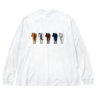 【うまけつ】うしろ Big silhouette long sleeve T-shirts