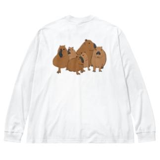 寄り添うカピバラ  Big silhouette long sleeve T-shirts