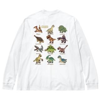 バックプリント ver. 恐竜図鑑 Big silhouette long sleeve T-shirts
