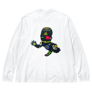 Psychedelic Danger Baby Big silhouette long sleeve T-shirts