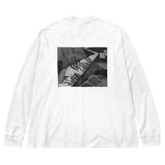 浮世絵雷光展ミュージアムグッズ Big silhouette long sleeve T-shirts
