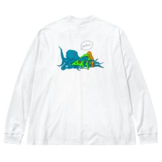 ファビュラスなタコ Big silhouette long sleeve T-shirts