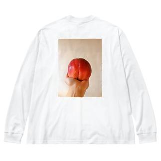 Peach Big silhouette long sleeve T-shirts