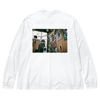 豆屋のインド料理屋 Big silhouette long sleeve T-shirts