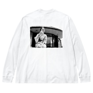 足湯と麦酒 Big silhouette long sleeve T-shirts