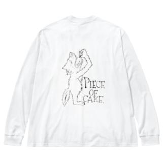 peace of cake wolf1 black print Big silhouette long sleeve T-shirts